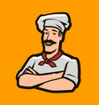 funny chef cook logo restaurant cooking food vector image
