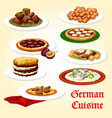 german cuisine icon of dinner dish with dessert vector image vector image