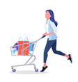 girl carry a bag woman drive a shopping basket vector image
