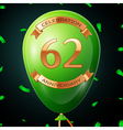 Green balloon with golden inscription sixty two vector image vector image