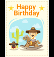Happy birthday card with little boy and friend 4 vector image vector image