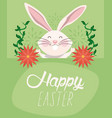 happy easter card with lettering and rabbit vector image vector image
