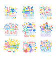 happy kid holiday happy new year logo template vector image vector image