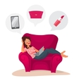 Happy woman doing online shopping at home vector image vector image