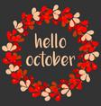 hello october wreath autumn card vector image