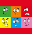 human expressions on six colors backgrounds vector image vector image