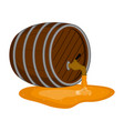 isolated opened wooden beer barrel icon vector image vector image