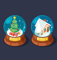 isometric christmas snow covered homely cozy house vector image vector image