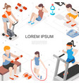 isometric fitness colorful concept vector image