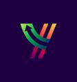letter y logo with arrow inside vector image vector image