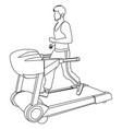 line art faceless man running on treadmill vector image vector image