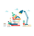 man and woman characters reading books vector image vector image