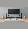 mockup of room with home theater system vector image