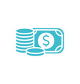 money banknote and coins business finance color vector image vector image