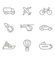 monochrome set with linear transport icons vector image vector image