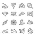 pizza whole slices thin line icons set isolated vector image vector image