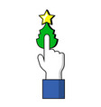 pointing finger on christmas tree button human vector image vector image