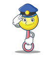 police rattle toy character cartoon vector image