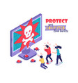 protect computer hackers concept vector image vector image