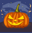 ripe pumpkin with carved eyes and mouth attribute vector image vector image