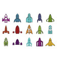 rocket icon set color outline style vector image vector image