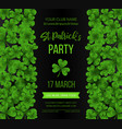 saint patrick s day poster with green four and vector image
