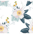 seamless floral pattern with peonies and herbs vector image vector image