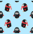 seamless pattern with cute penguin in scarf and vector image vector image