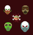 Set paintball mask skull in protective mask Mortal vector image vector image