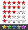 star rating template with 6 color stars vector image