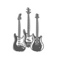 three guitars isolated on a white background vector image vector image