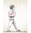walking woman vector image vector image
