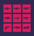 weapons firearms icons set vector image vector image