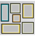 wooden square picture frames color rainbow set for vector image vector image