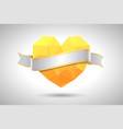 yellow heart with ribbon valentines day vector image vector image