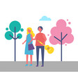 young couple walking in park cartoon trees vector image vector image
