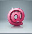 pink mail icon with white reflect vector image