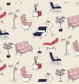 60s style furniture interior pattern cute pastel vector image