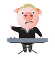 a funny pig sings expressively and plays keyboard vector image vector image