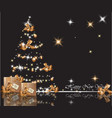 beautiful gold christmas tree on shiny background vector image vector image