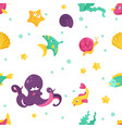 bright cartoon partten with sea inhabitants vector image vector image