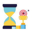 business trophy hourglass target and chart vector image vector image