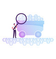 businessman with huge magnifying glass stand vector image