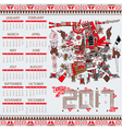 Calendar 2017 in aztec style vector image vector image