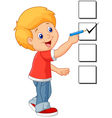 Cartoon boy with checklist vector image