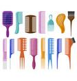 cartoon hair brushes hair care plastic hair combs vector image