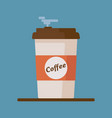 coffee cup icon with coffee beans on blue vector image vector image