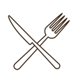 cutlery fork and knife tool isolated icon vector image vector image