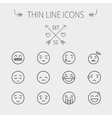 Emoji thin line icon set vector image vector image