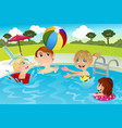 family in swimming pool vector image